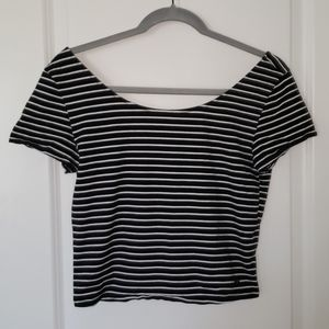 American Eagle Black and White Stripped Crop Top